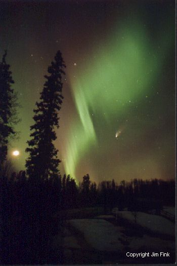 Aurora Shares the Sky With Comet Hale-Bopp And The Moon